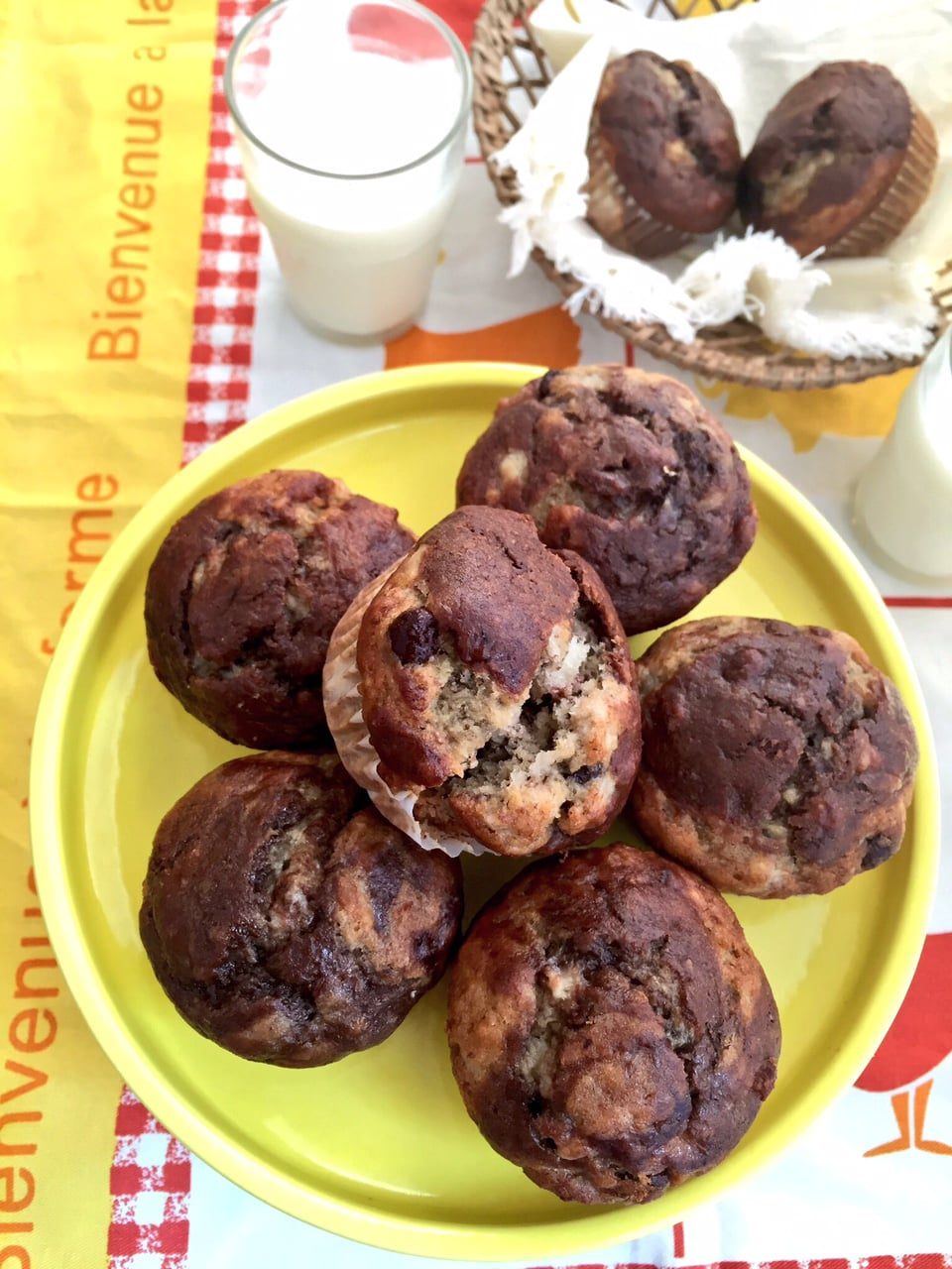 Banana Muffins with Choco Swirls